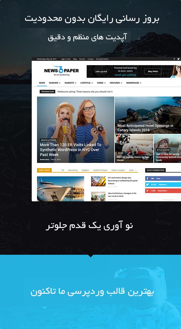 دانلود رایگان قالب خبری وردپرس NewsPaper نسخه 7.5