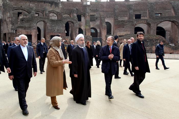 حسن روحانی در میدان گلادیاتورهای ایتالیا /تصاویر