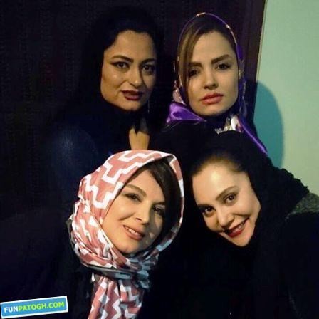 آرام جعفری در کنار بازیگران زن در جشن تولدش