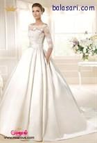 لباس عروس پفی با فرم منحصر به فرد دامن ساتن ساده جیب دار و آستین سه ربع