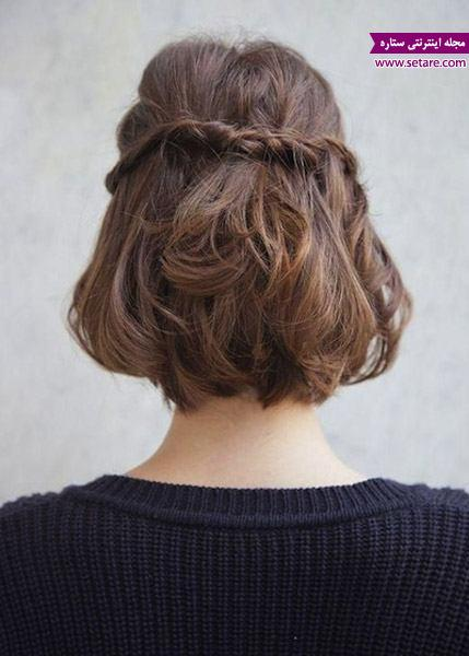 مدل موی جمع و باز، شینیون ساده، مدل مو جدید، مدل موی کوتاه، بستن موی کوتاه، مدل مو بافت