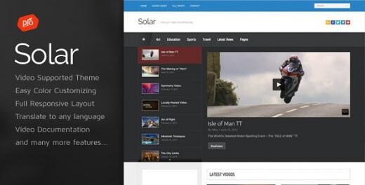 دانلود قالب سایت ویدئو وردپرس Solar