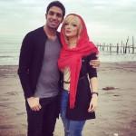 سپهر حیدری و همسرش کنار دریا