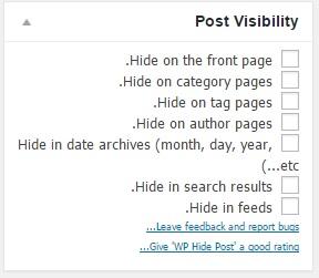 دانلود افزونه پنهان کردن مطالب از صفحه اول سایت WP Hide Post