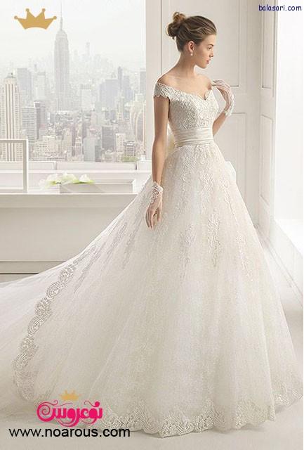 لباس عروس پفی با یقه هفت باز