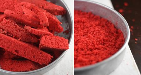 طرز تهیه کیک مخصوص ولنتاین, طرز تهیه کیک مخملی قرمز قلبی